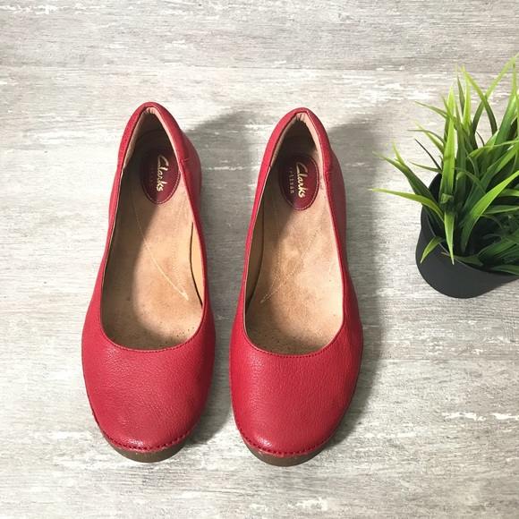 62187754399 Clarks Shoes - Clarks Artisan Ballet Flat Shoes Leather Red